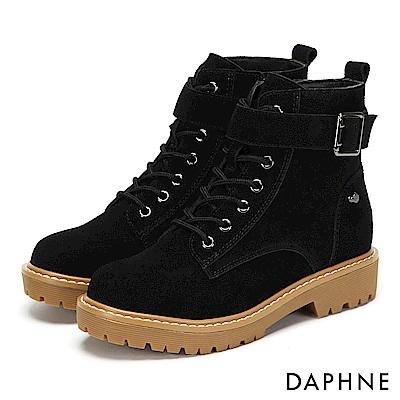 達芙妮DAPHNE 短靴-質感牛皮金屬釦帶綁帶厚底靴-黑