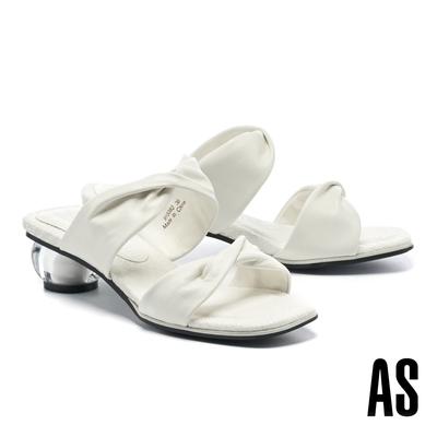 拖鞋 AS 寬版扭結一字帶版編織風羊皮方頭低跟拖鞋-白