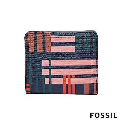 FOSSIL Logan 防潑水系列拉鍊零錢袋設計短夾-條紋