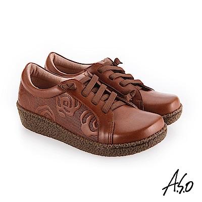 A.S.O 新式復古 舒適柔軟休閒鞋 茶
