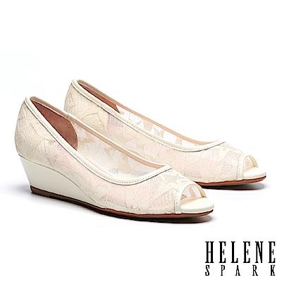 高跟鞋 HELENE SPARK 經典雅緻星星造型網紗魚口楔型高跟鞋-米