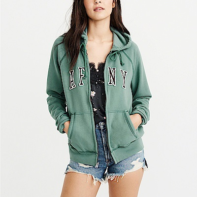 麋鹿 AF A&F 經典刺繡文字連帽外套(女)-綠色