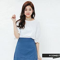 H:CONNECT 韓國品牌 女裝-繡花袖設計上衣-白