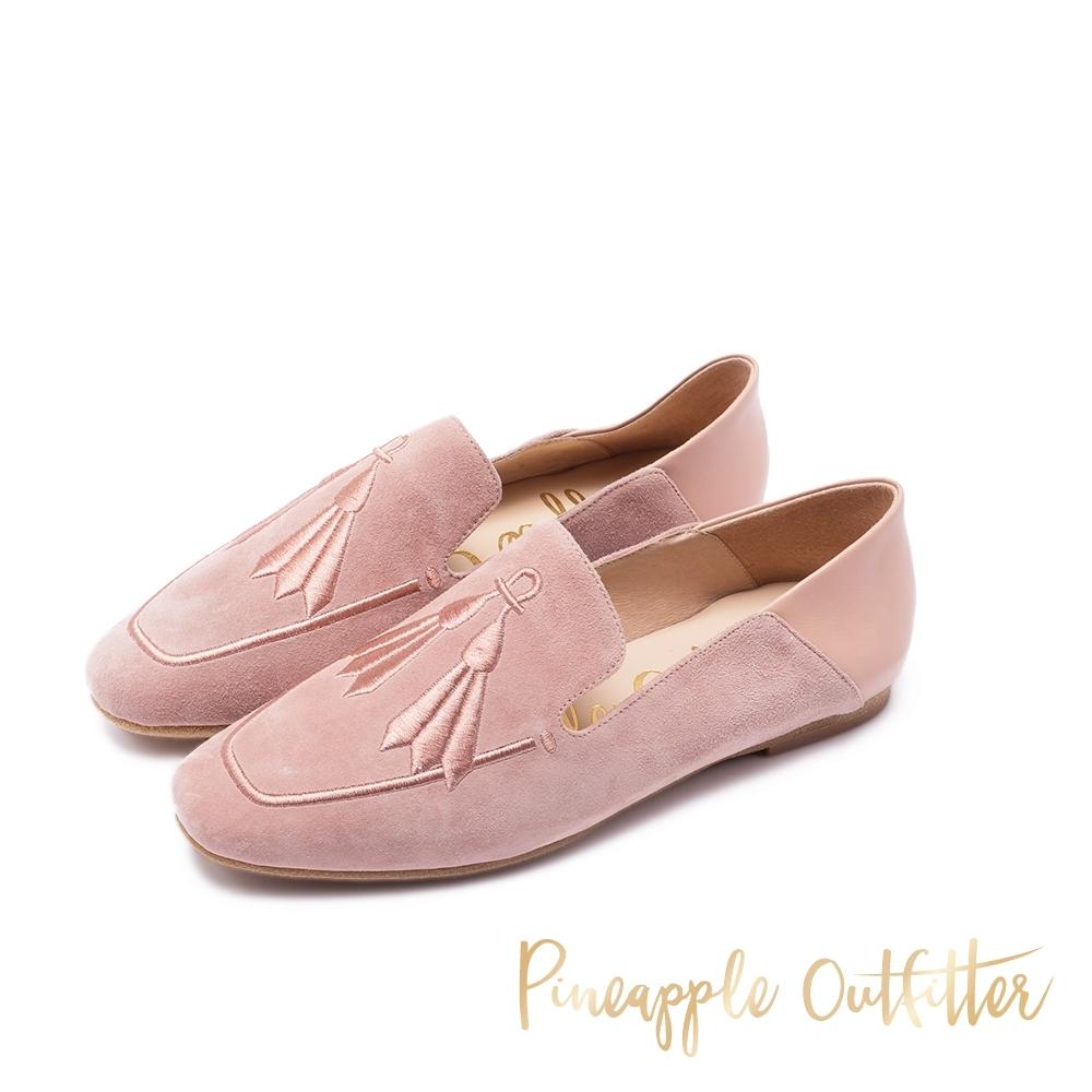 Pineapple Outfitter MAEVE 輕巧刺繡拼接平底鞋-絨粉色