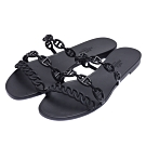 HERMES Thalassa sandal系列經典品牌標誌山羊皮涼拖鞋(黑)