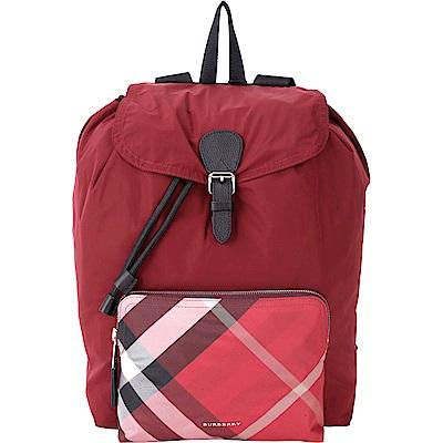BURBERRY The Rucksack 紅色格紋口袋尼龍抽繩後背包(展示品)