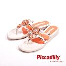 Piccadilly 貼鑽平底夾腳拖鞋 女鞋 橘(另有黑、黃)