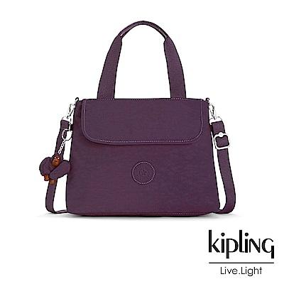 Kipling 手提包 深紫素面 -中