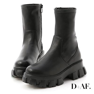D+AF 暗黑風潮.超輕量素面鋸齒靴*黑