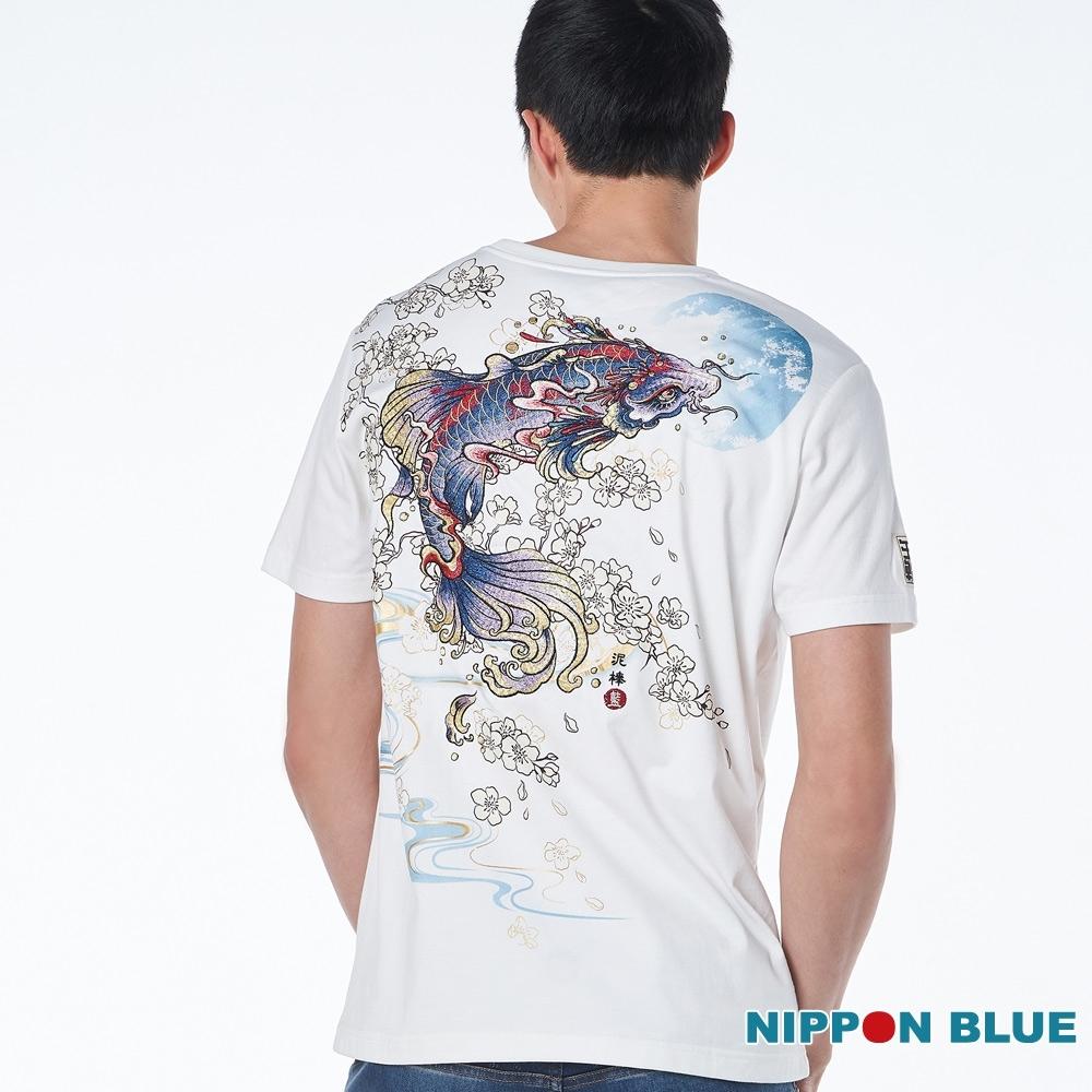 日本藍 BLUE WAY – 進口金標-櫻夜鯉短TEE(白)