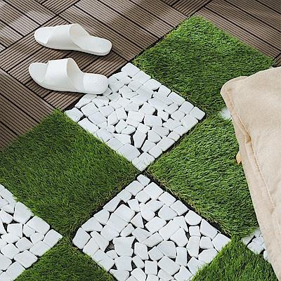 樂嫚妮 卡扣式拼接塑木石材地板/防水防腐/耐磨/造景/拼接/9片0.25坪-白色磨砂