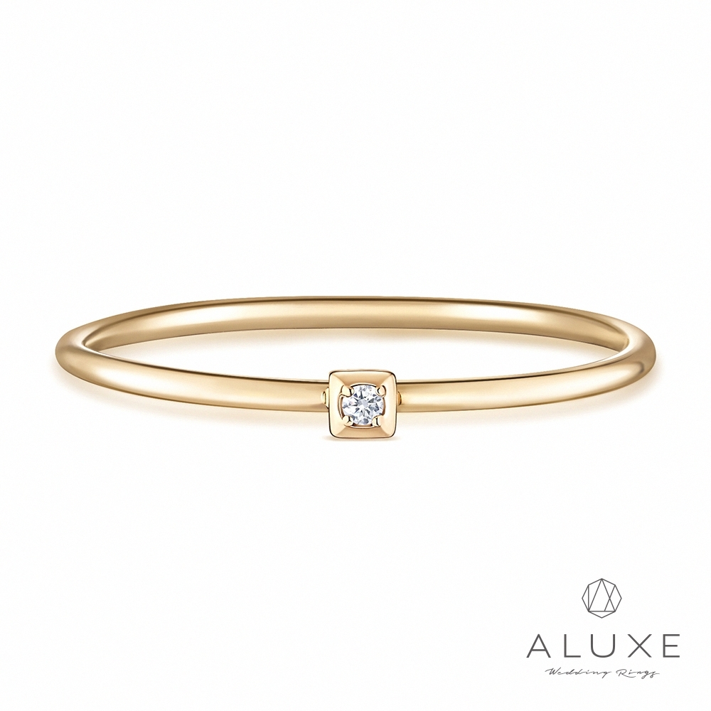 ALUXE 亞立詩 10K鑽石極簡方戒指