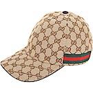 GUCCI Original GG 雙G緹花帆布棒球帽(咖棕色)