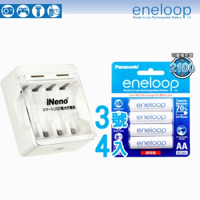 Panasonic-eneloop低自放鎳氫充電電池(3號4入+iNeno 401充電器)