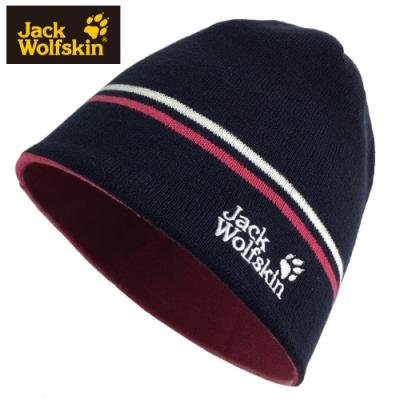 【Jack wolfskin 飛狼】LOGO條紋毛帽 雙面戴針織保暖帽『午夜藍』