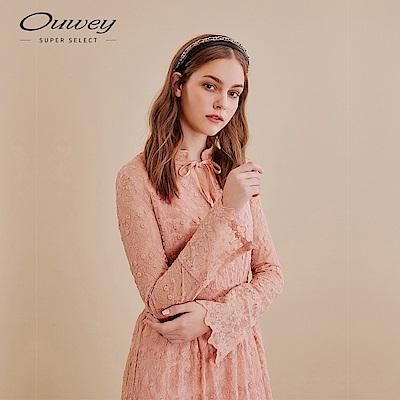OUWEY歐薇 浪漫網底刺繡蕾絲收腰長洋裝(粉)