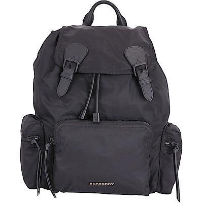 BURBERRY The Rucksack 大款 科技尼龍雙釦口袋設計後背包(黑色)