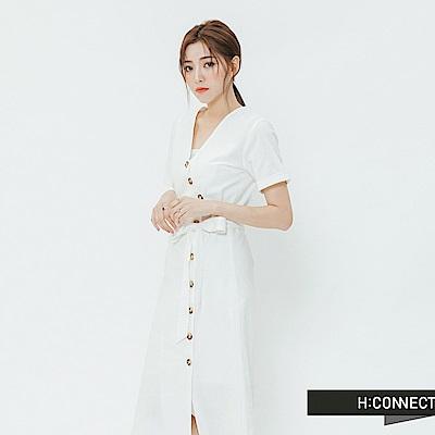H:CONNECT 韓國品牌 女裝-琥珀排綁結洋裝-白