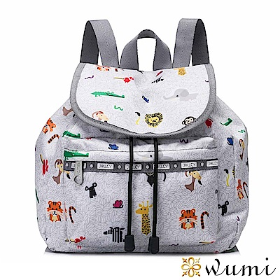 WuMi 無米 絲印超Q動物圖形束口後背包 迷霧灰