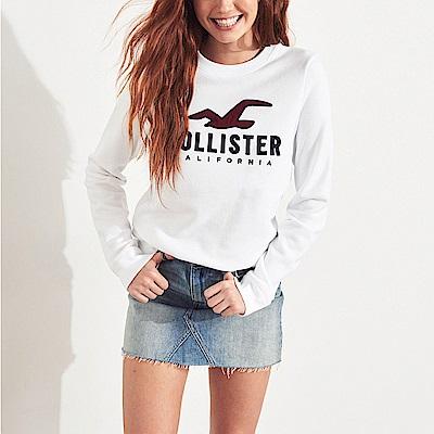 HCO Hollister 海鷗 經典刺繡大海鷗文字長袖T恤(女)-白色
