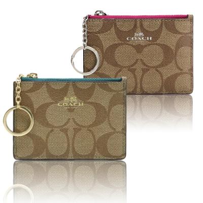 COACH 防刮皮革卡夾鑰匙零錢包-多款多色