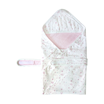 【Deux Filles有機棉】嬰兒包巾粉紅兔款