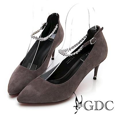 GDC-羊皮質感高貴尖頭水鑽繞踝高跟鞋-灰色