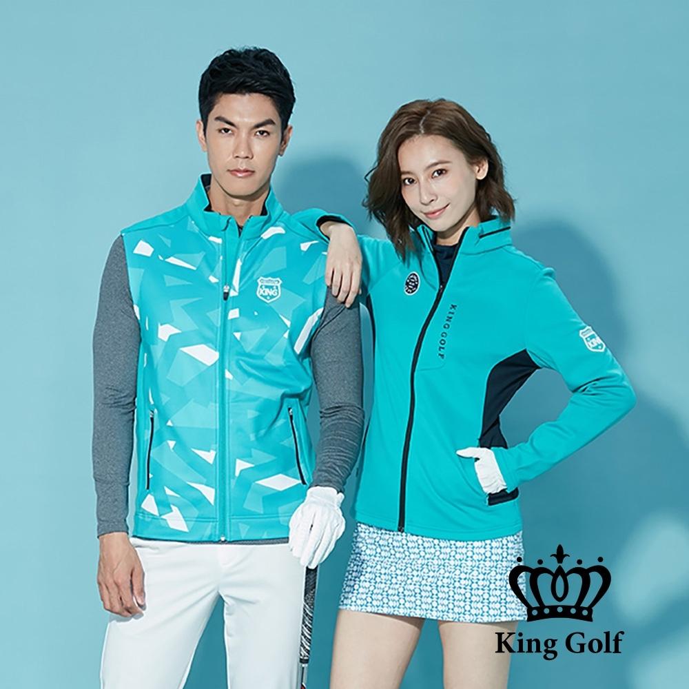 【KING GOLF】刺繡LOGO幾何印圖輕薄防風背心外套-綠色