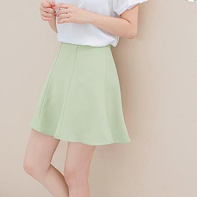 質感簡約剪裁純色傘襬短裙-OB大尺碼