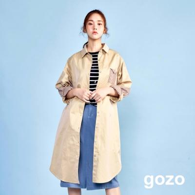 gozo 格紋拼接風衣式襯衫洋裝(淺卡其)