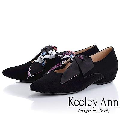 Keeley Ann 復古俏皮~碎花蝴蝶結平低跟全真皮瑪莉珍鞋(黑色)
