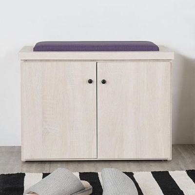 Homelike 巴森2尺坐式鞋櫃(白雪松)-61x36 x46cm