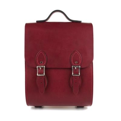 The Leather Satchel 英國手工牛皮溫莎小後揹包 手提包 葡萄紅