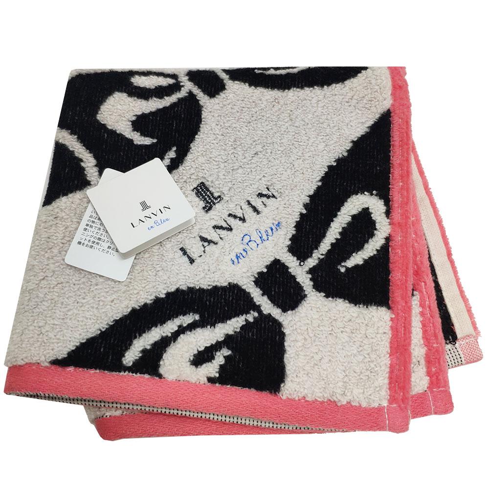 LANVIN en bleu 蝴蝶結圖騰品牌LOGO刺繡小方巾(粉紅邊)