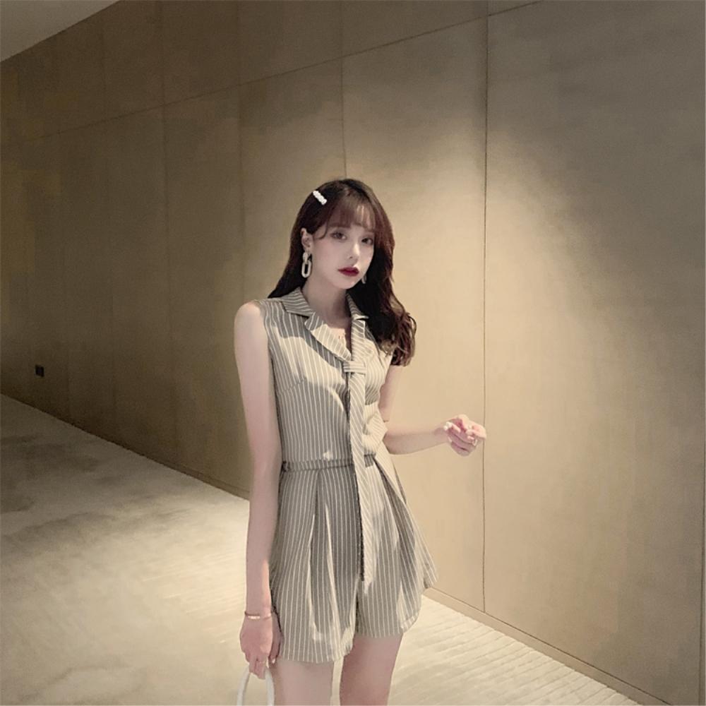 DABI 韓系氣質領帶上衣寬口短褲時尚套裝無袖裙裝