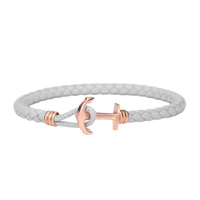 PAUL HEWITT  單繩釦皮革手環-玫瑰金X灰色
