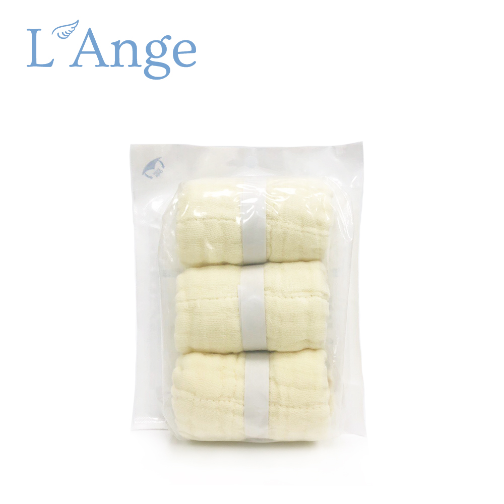 L'Ange 棉之境 9層多功能紗布小方巾 22x22cm 3入組-黃色