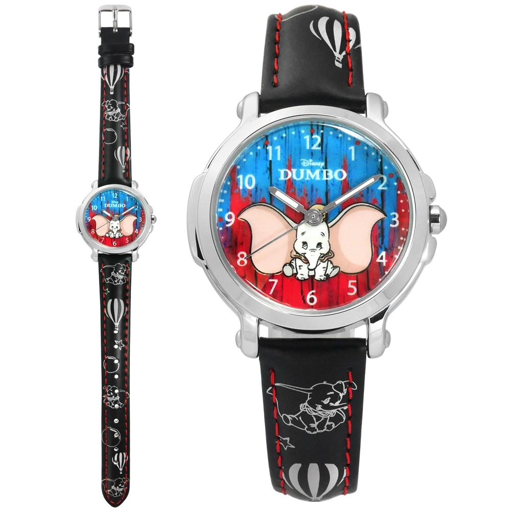 Disney 迪士尼 小飛象 Dumbo 日本機芯 兒童卡通 皮革手錶-紅藍x黑/32mm
