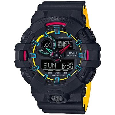 G-SHOCK 亮彩螢光雙顯腕錶-多色款(GA-700SE-1A9)/53mm