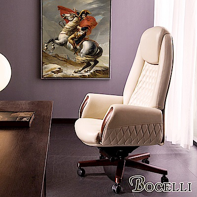 BOCELLI-ONOREVOLE尊貴風尚高背辦公椅(義大利牛皮)優雅米