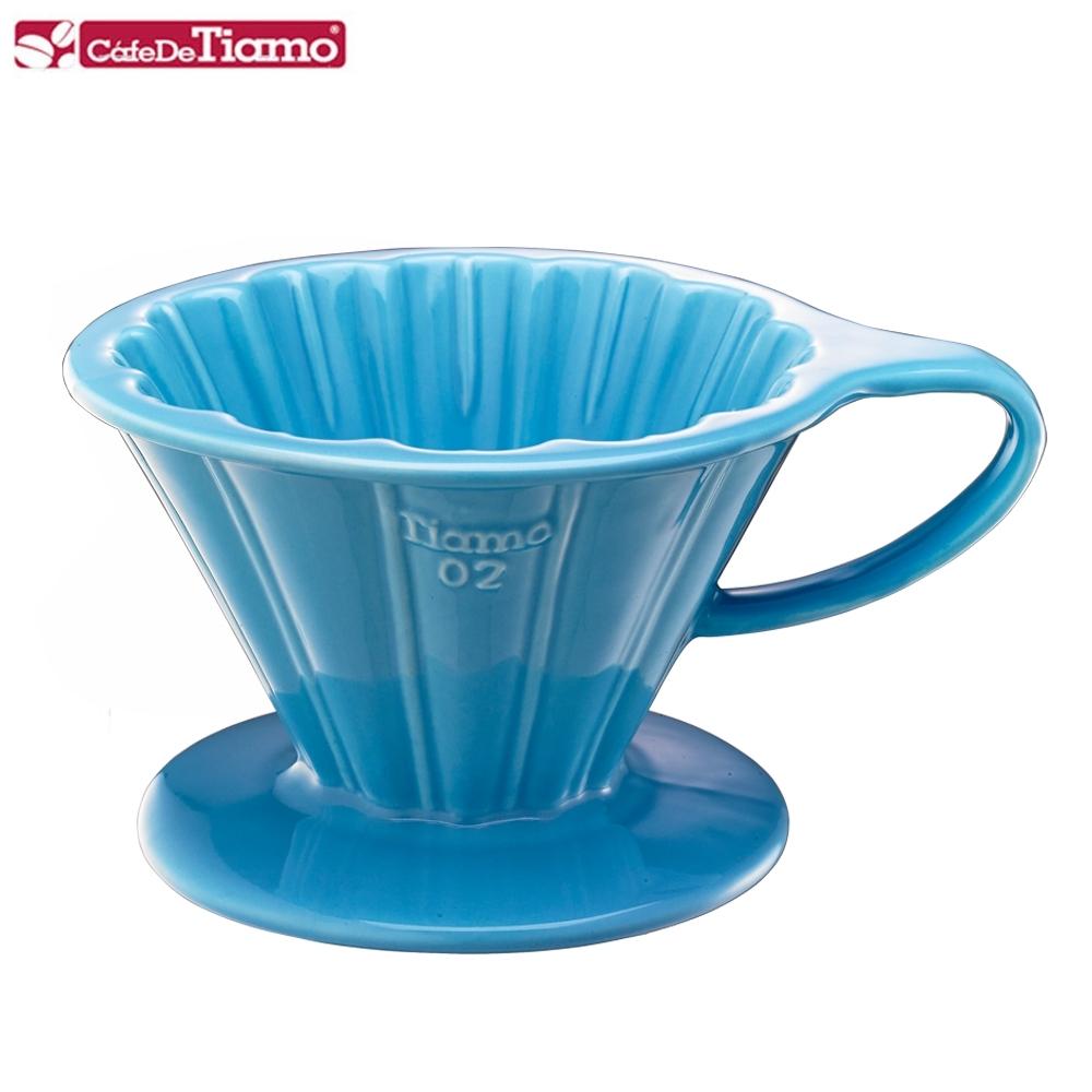 Tiamo V02花瓣形陶瓷咖啡濾杯組-粉藍色(HG5536BB)
