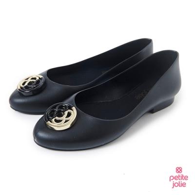 Petite Jolie-雙色金屬感LOGO果凍娃娃鞋-黑色