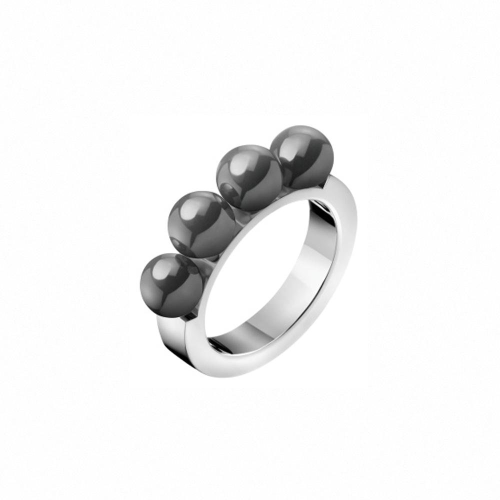 CALVIN KLEIN Circling 系列時尚珍珠白鋼戒指-7