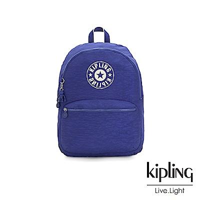 Kipling 激光藍品牌經典圓標休閒雙肩後背包-KIRYAS