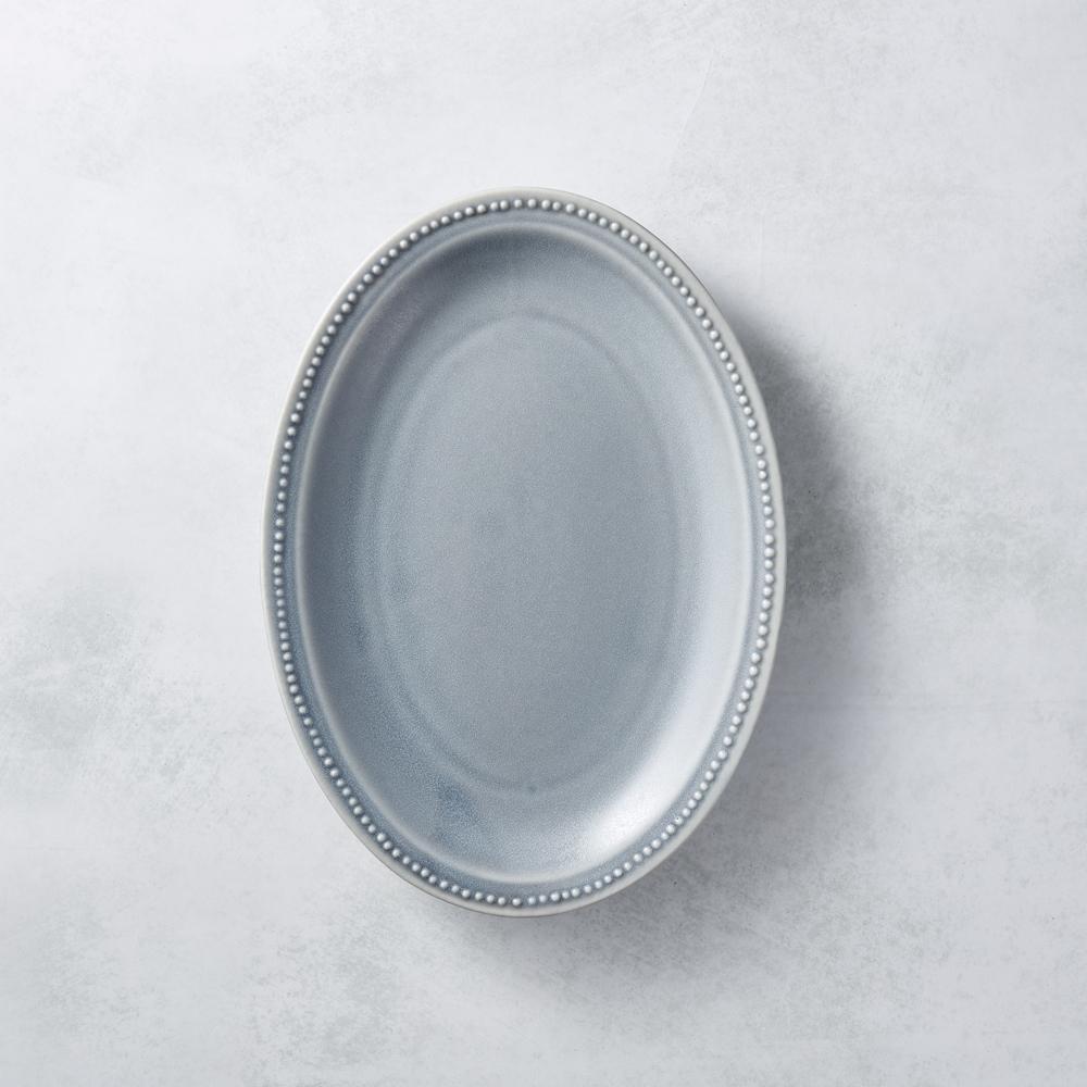 日本美濃燒 - 珍珠邊橢圓淺盤 - 灰紫 24cm