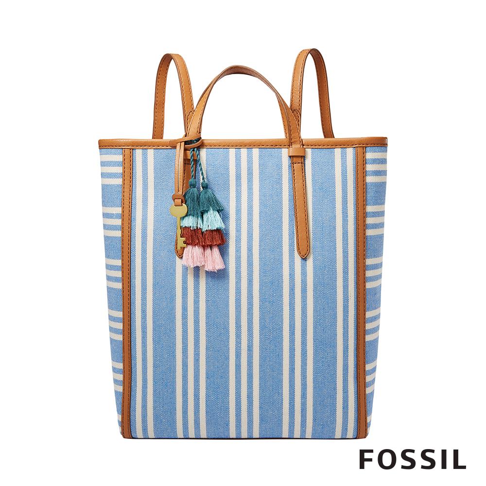 FOSSIL CAMILLA 條紋多變風格背包-天藍色 ZB7737772