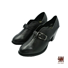SM-金屬扣環簡約霸氣時尚踝靴-黑色 (兩色)