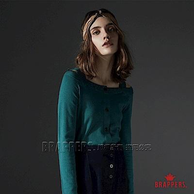 BRAPPERS 女款 大V領露肩排釦長袖線衫-綠