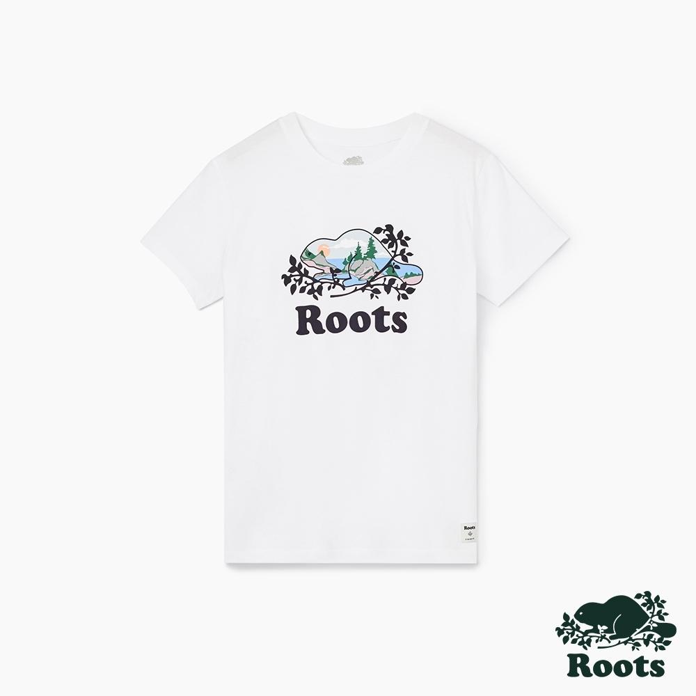 女裝Roots 風景海狸短袖T恤-白色