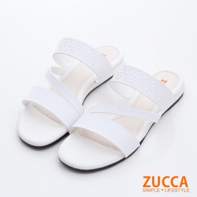 ZUCCA-縷空雕花皮革平底拖鞋-白-z6812we